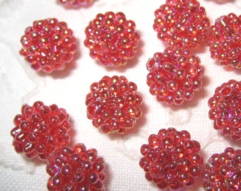 9mm - Shiny Red berry beads - 30 pcs (berry-G)