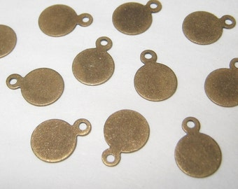 48 pcs - 7mm - Brass tag for cabochon