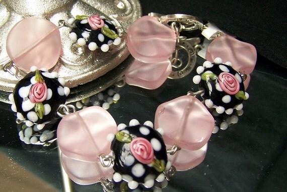 Black Lampwork Beaded Bracelet
