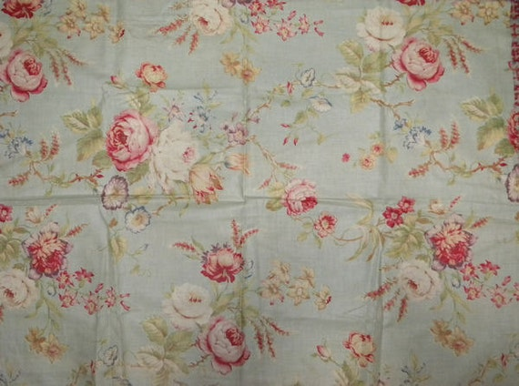 Shabby Antique French Cotton Fabric Pale Soft Green and Pastel Roses