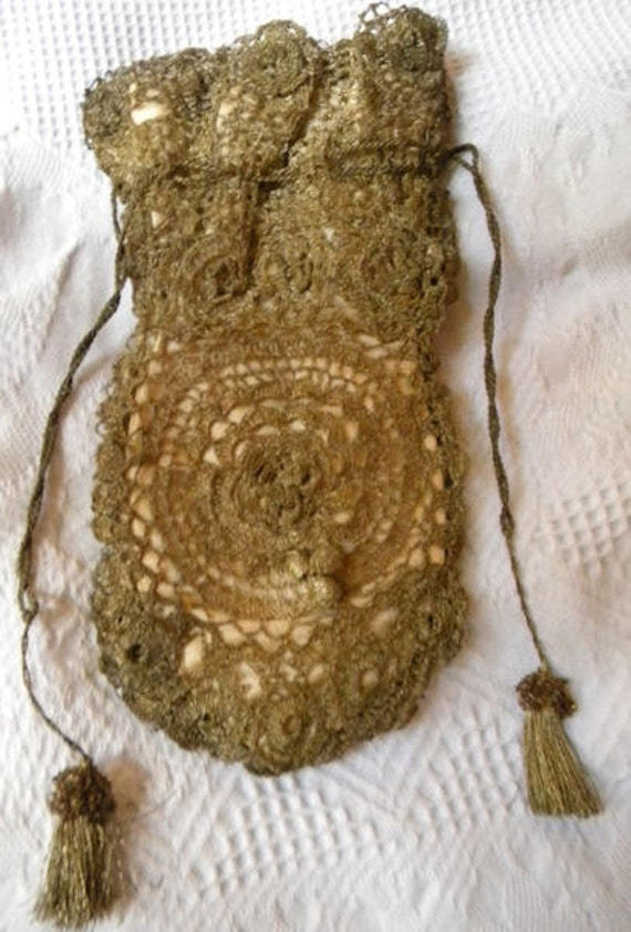 Sweet Vintage French Gold Metallic Lace Silk Flapper Purse