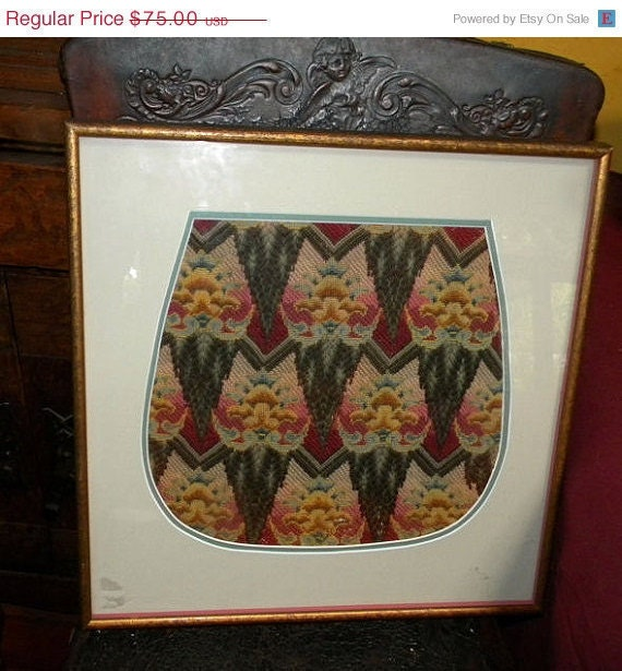 Unusual Colorful Antique Framed Art Deco Needlepoint with Embroidery