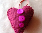 Handmade Felt Maroon Heart