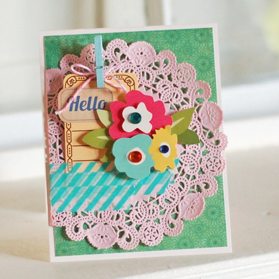 Hello, Doily.... Handmade Greeting Card