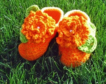 Baby Flower Booties orange yellow trim