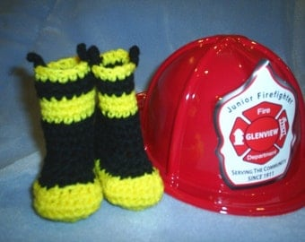 Baby Fireman Booties Boots Fire Fighter