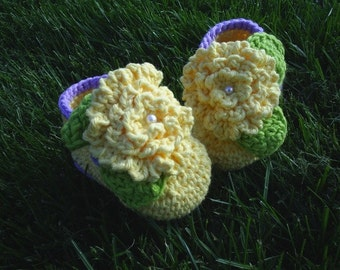 Baby Flower Booties yellow lavender trim