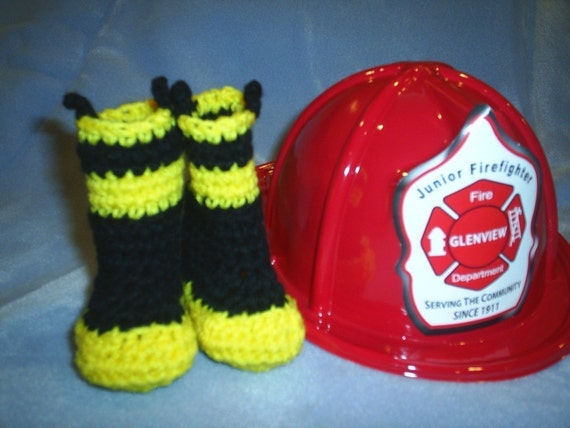 Baby Fireman Booties Boots Fire Fighter