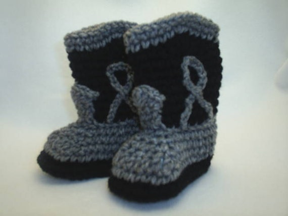 Baby Cowboy Boot Booties gray black fifty shades of grey