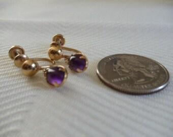 Amethyst 20-12K Gold Filled Screw On Earrings
