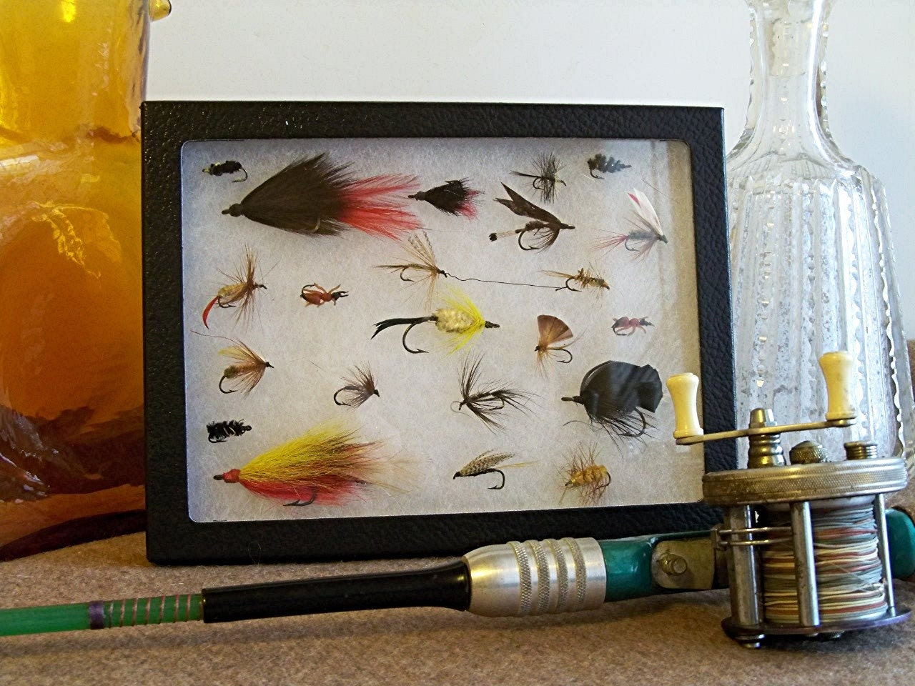 Fly fishing lures hand tied flies vintage display of by for Fishing lure display