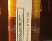 FRANKINCENSE & MYRRH Gold/Brown Square Fall Pillar Candle 3x6.5