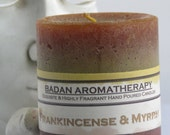 "FRANKINCENSE & MYRRH Pillar Candles, Gold Brown 3""x3.5"" Tall Aromatherapy Candles with Resins and Essential oils Metaphysical Candle Gifts"