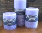 Violet Candle Set of 3: Fragrant Purple Violet & Sandalwood Pillar Candles -  Gift Set - Ready to Ship