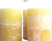 Yellow Lemongrass Lemon Verbena Blood Orange Handmade Beeswax Pillar Candle 3x4.5
