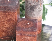 Clove Candle Set of 3: Fragrant Dark Brown Clove Scented Square & ROUND Pillar Candles - Gift Set