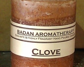 "Badan Body CLOVE Pillar Candle Hand Made with Clove Essential Oil, Dark Brown Small 3""x3.5"" Rustic Finish"