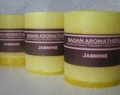"Badan Fragrant Jasmine Pillar Candle, Bright Yellow Small 3""x3.5"" Tall"