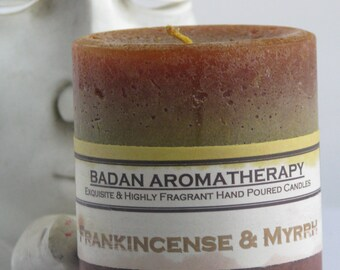 """FRANKINCENSE & MYRRH Pillar Candles, Gold Brown 3""""x3.5"""" Tall Aromatherapy Candles with Resins and Essential oils Metaphysical Candle Gifts"""