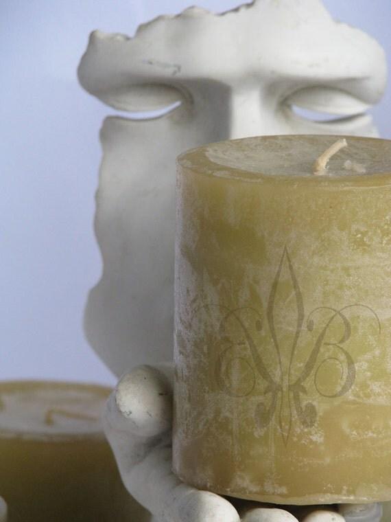 "Pillar Candle -Handmade Bergamot & Ginger Aromatherapy 3x4.5"""