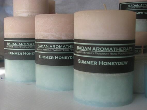 White & Melon Green: Summer Honeydew Pillar Candle 3x4.5