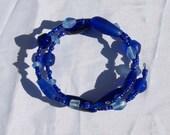 Blue Glass Memory Wire Bracelet