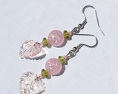 Pink and Green Glass Leaf Earrings