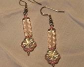 Pink Glass Flower Earrings  ...SALE...