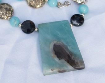 Amazonite and Black Moss Agate Necklace