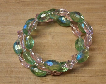 Pink and Green Glass Bead Bracelet
