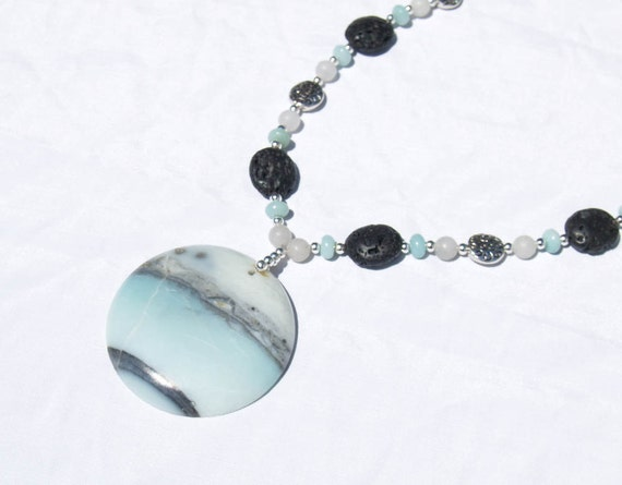 Amazonite, Grey Agate, and Lava Necklace