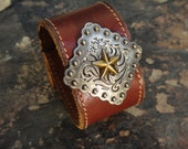 Star of the trails Cowgirl Cuff Recycled Belt Leather