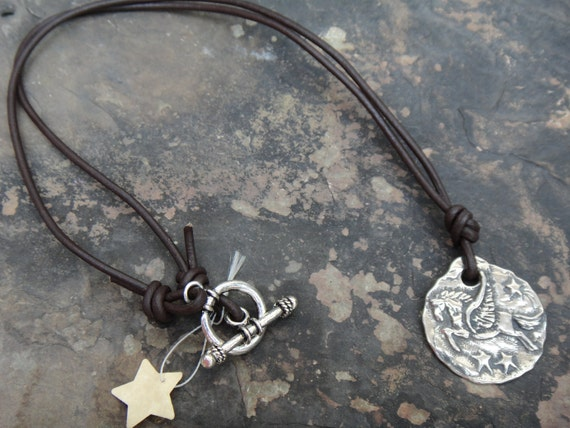 Fly me to the moon Horse Charm Leather Necklace