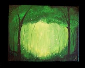 Firefly Romance Artist signed original painting emerald green art. 11x14 hand painted (Comission of original)
