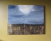 "Twilight Field original painting signed by artist ""C. Parlett"""