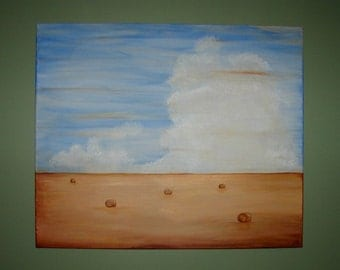 Artist signed painting A Day's Work large 30x36 size