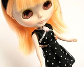 Black polka dot dress - upcycled vintage doll cothes - for  Blythe, Pullip, Skipper, and 1/6 scale dolls