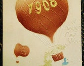 Vintage 1908 Embossed New Year's Postcard Hot Air Balloon Germany