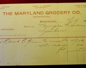 Antique 1898 The Maryland Grocery Co. Letterhead Bill Receipt Baltimore The Maryland Grocery Co. General Store Advertising Vintage Receipt
