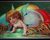 Vintage Easter Postcard Angel Hatching From Silver Egg, Antique Postcard, Easter Post Card, Antique Easter Greeting Card, Victorian Easter