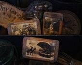 "Vintage Rabbit Postcard Grubby Blackened Beeswax Scented Tarts ""Pumpkin Cheesecake"" x3"