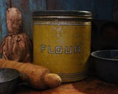 Primitive Farmhouse Kitchen Mustard Yellow Flour Canister