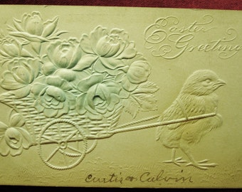 Antique 1907 Easter Postcard Embossed Chick Pulling Cart, Antique Easter, Primitive Easter Post Card