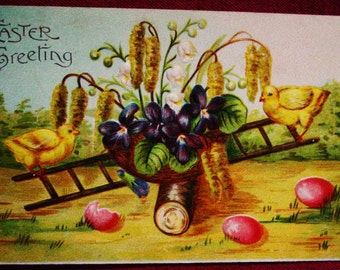 Vintage 1908 Easter Postcard Chicks On Ladder Germany