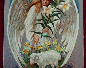 1909 Vintage Easter Postcard Angel & Sheep Silver Background, Antique Easter Card, Easter Post Card, Vintage Post Card