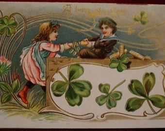 Vintage New Year's Postcard Victorian Children Coins 4 Leaf Clovers