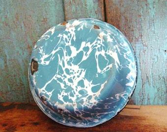 Old Farmhouse Kitchen Blue Swirl Graniteware Pudding Pan