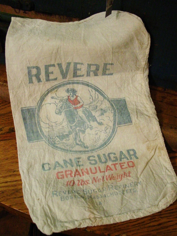 OLD CLOTH REVERE CANE SUGAR BAG EARLY ADVERTISING