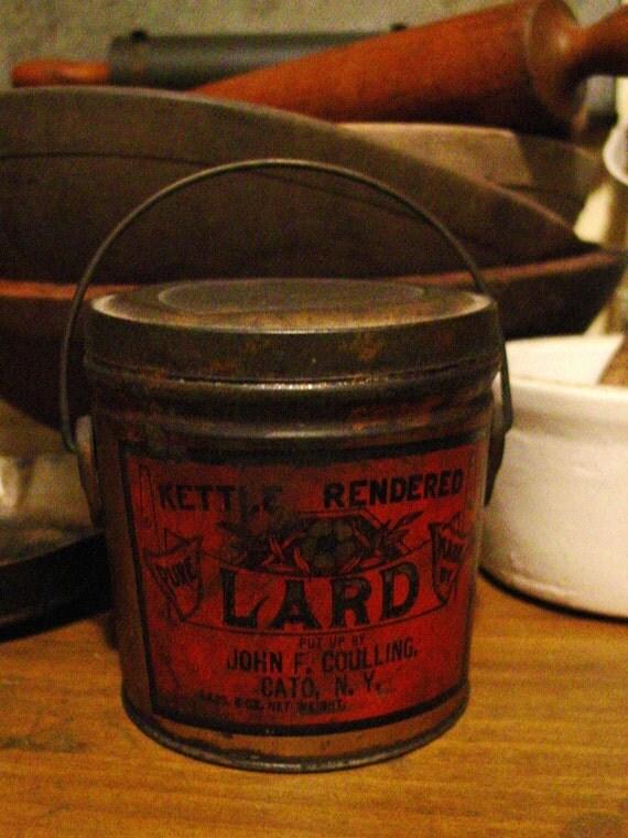 Old General Store Kettle Rendered Lard Tin Pail