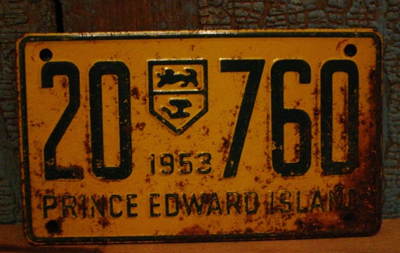 Reserved For Lisa Canada Vintage 1953 Prince Edward Island Bicycle License Plate